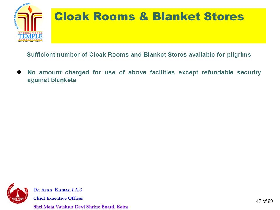 Cloak Rooms & Blanket Stores