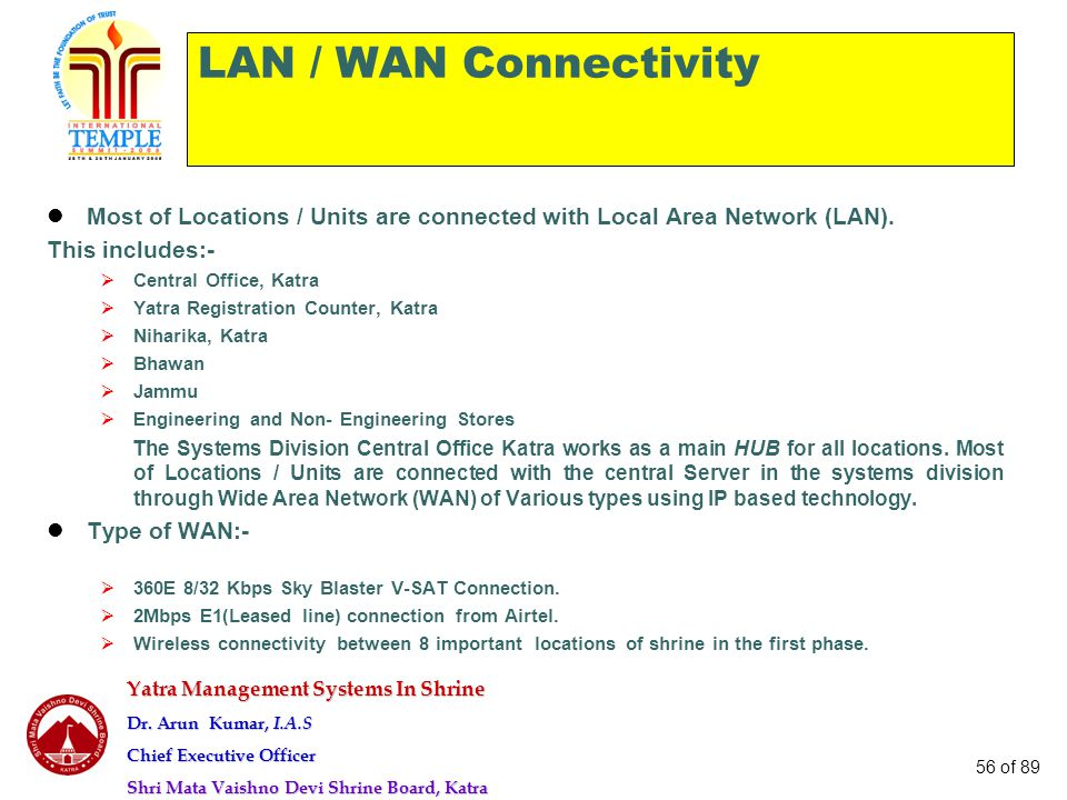 LAN / WAN Connectivity Most of Locations / Units are connected with Local Area Network (LAN). This includes:-