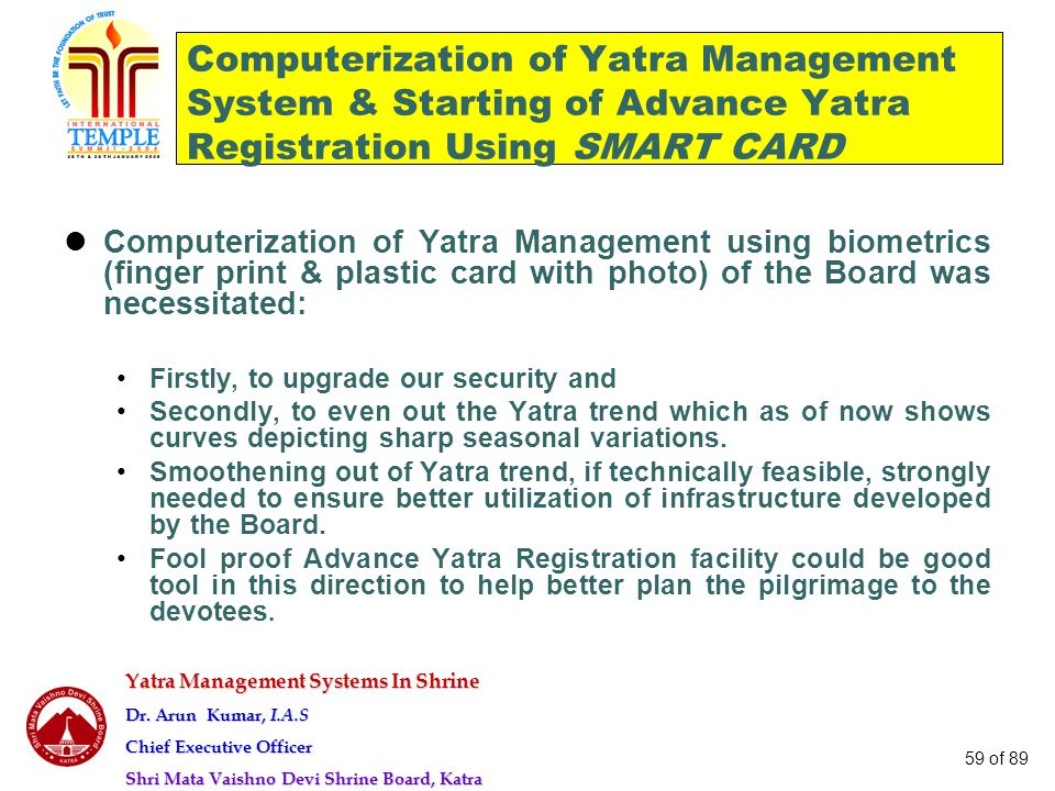 Computerization of Yatra Management System & Starting of Advance Yatra Registration Using SMART CARD