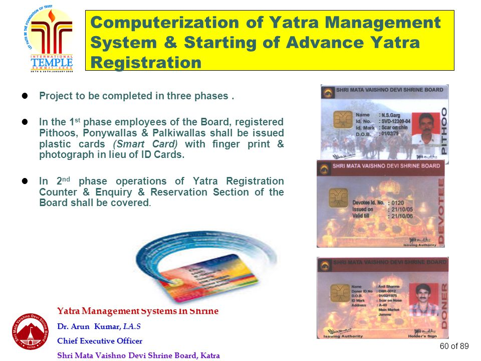 Computerization of Yatra Management System & Starting of Advance Yatra Registration