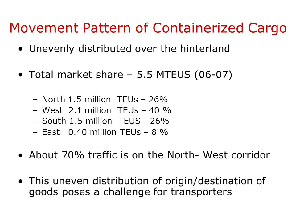 Movement Pattern of Containerized Cargo
