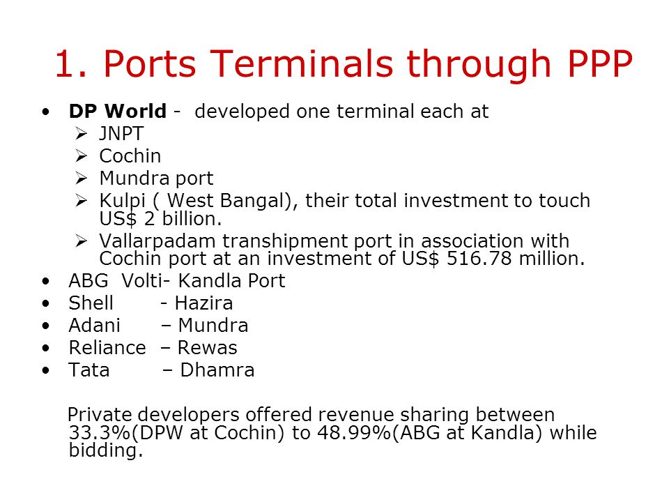 1. Ports Terminals through PPP