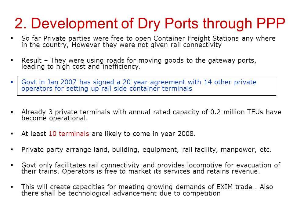 2. Development of Dry Ports through PPP