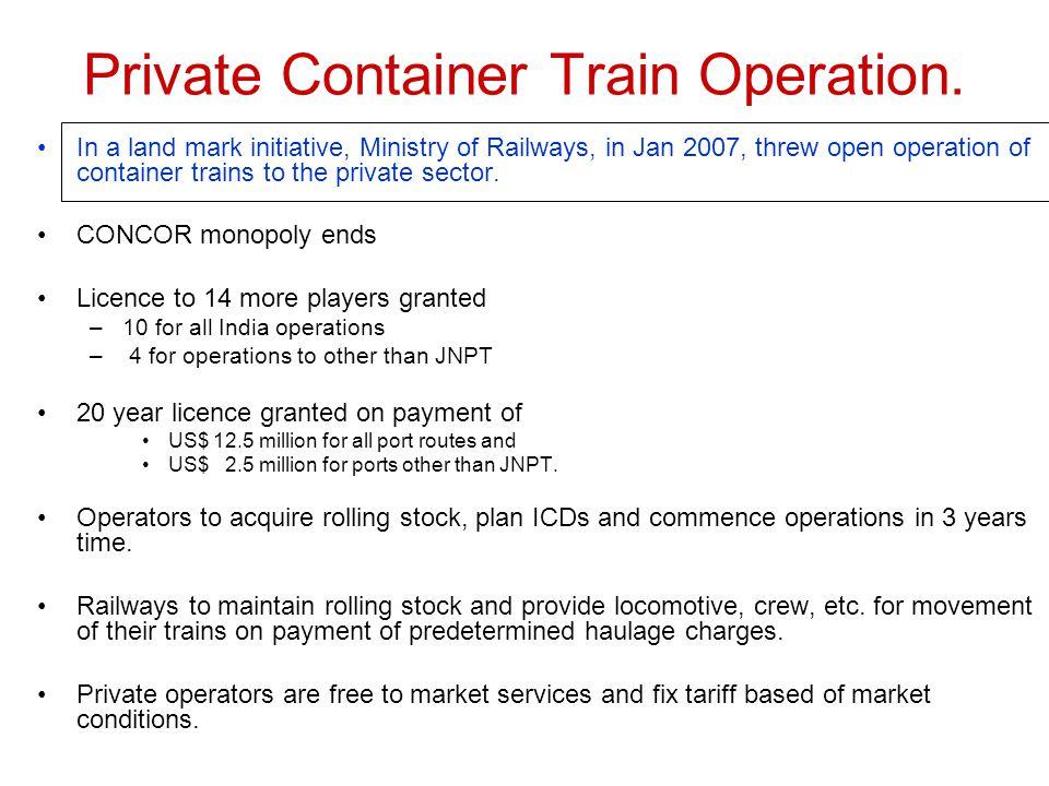 Private Container Train Operation.