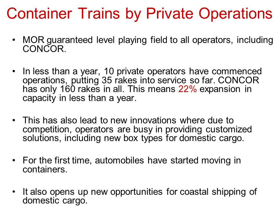Container Trains by Private Operations
