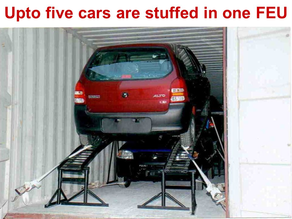 Upto five cars are stuffed in one FEU