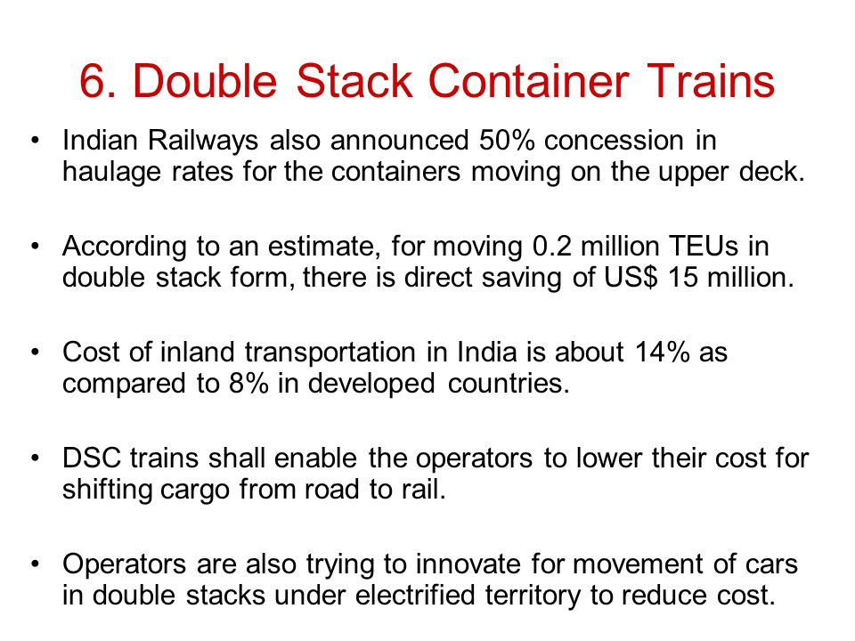 6. Double Stack Container Trains