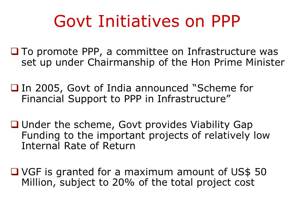 Govt Initiatives on PPP
