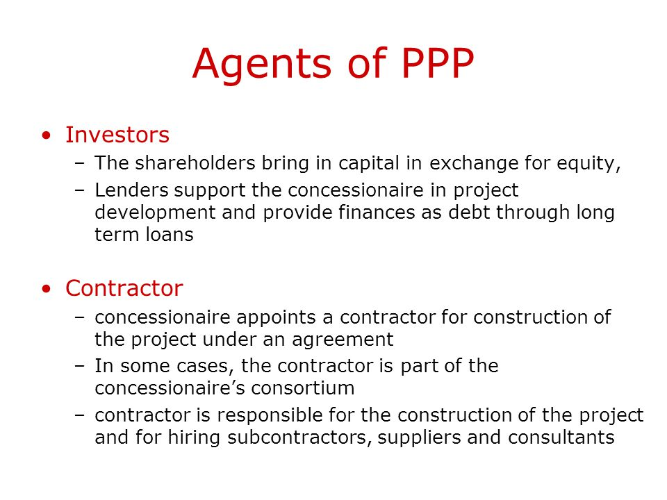 Agents of PPP Investors Contractor