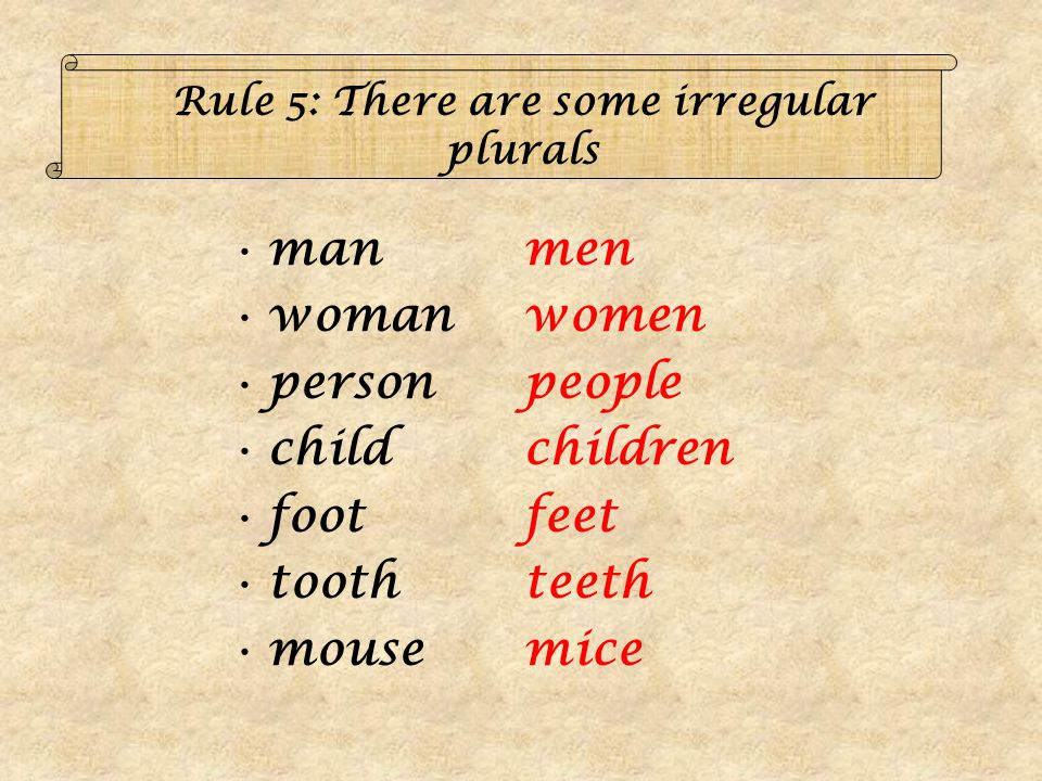 Rule 5: There are some irregular plurals