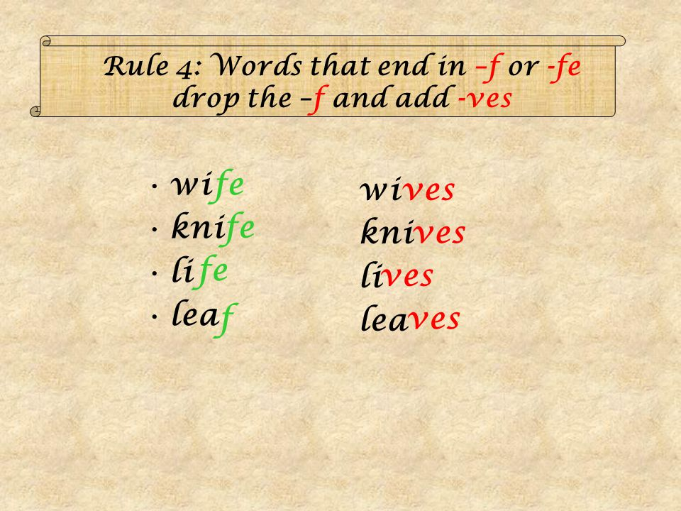 Rule 4: Words that end in –f or -fe drop the –f and add -ves