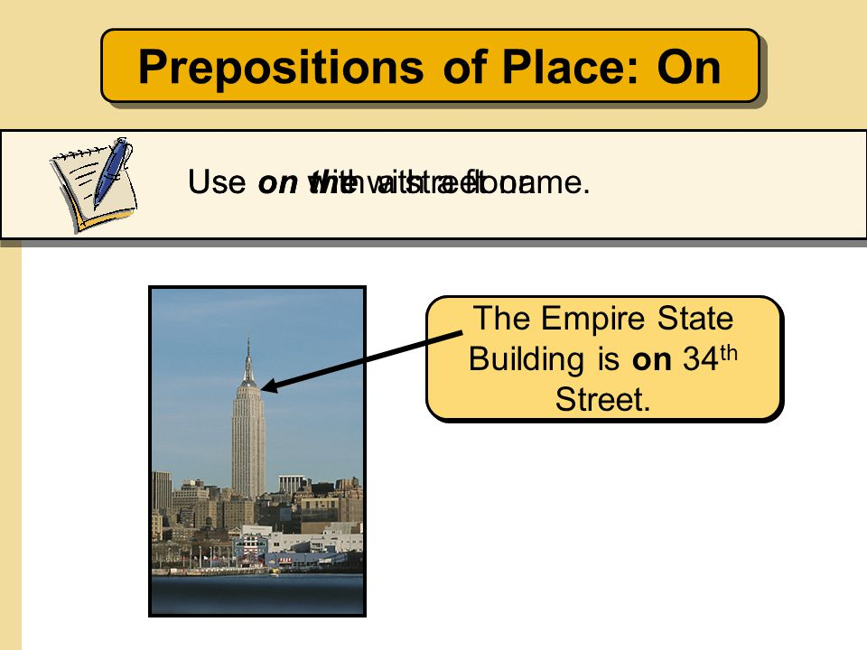 Prepositions of Place: On
