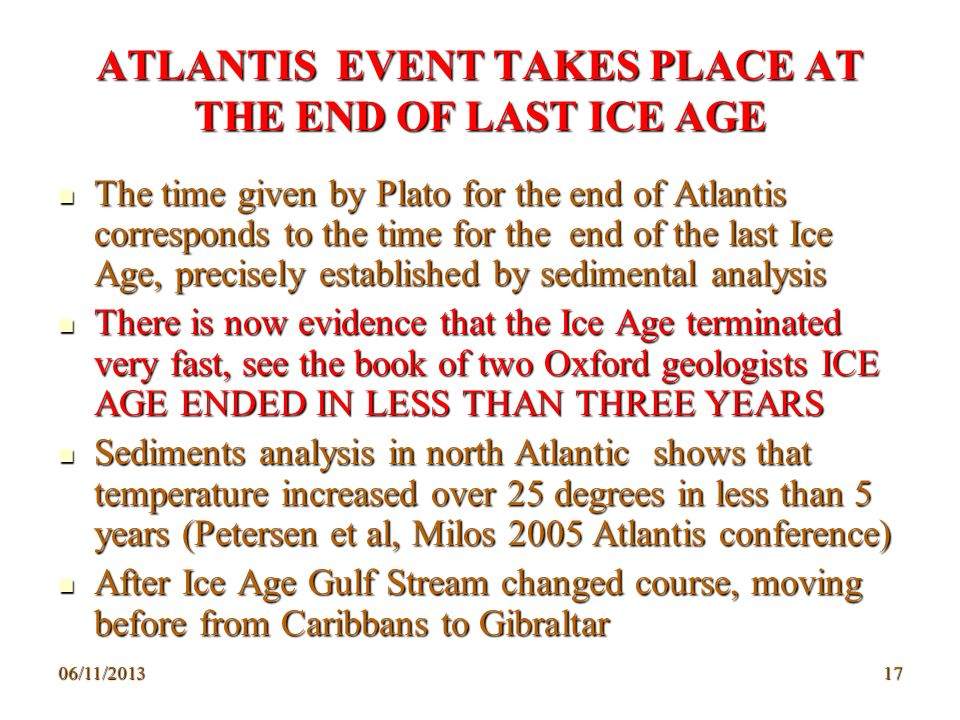 ATLANTIS EVENT TAKES PLACE AT THE END OF LAST ICE AGE