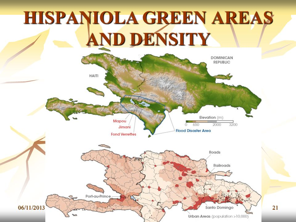 HISPANIOLA GREEN AREAS AND DENSITY
