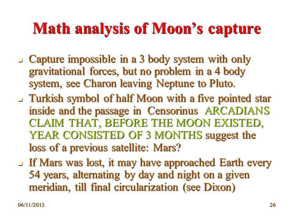 Math analysis of Moon's capture