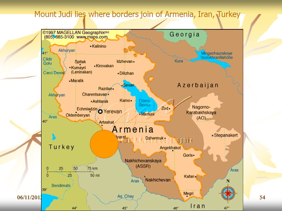 Mount Judi lies where borders join of Armenia, Iran, Turkey