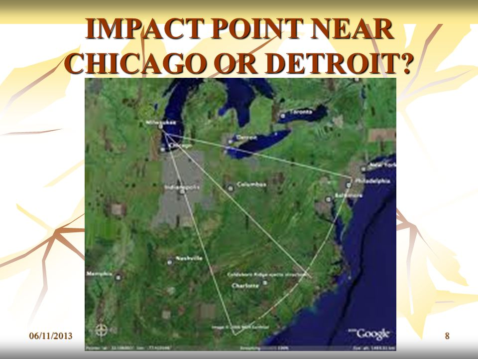 IMPACT POINT NEAR CHICAGO OR DETROIT