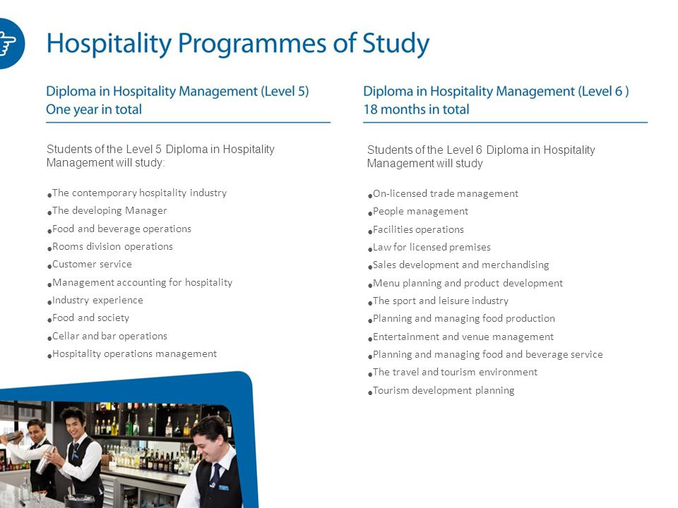 Students of the Level 5 Diploma in Hospitality Management will study: