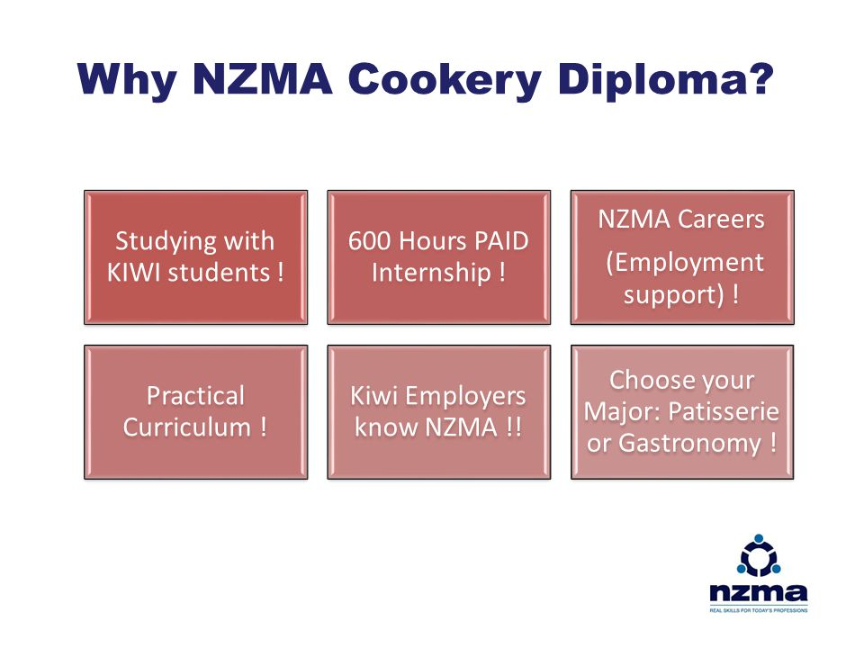 Why NZMA Cookery Diploma