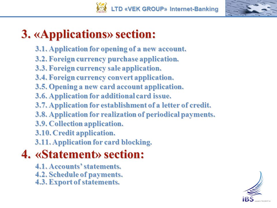 3. «Applications» section: