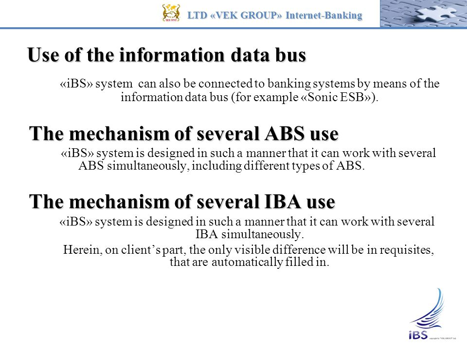 Use of the information data bus