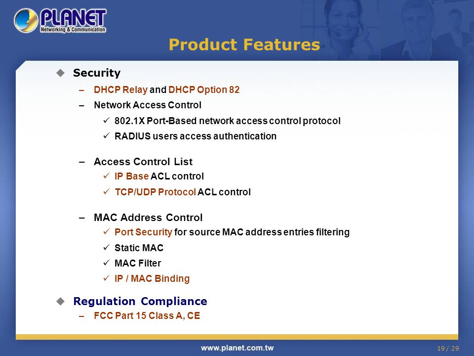 Product Features Security Access Control List MAC Address Control