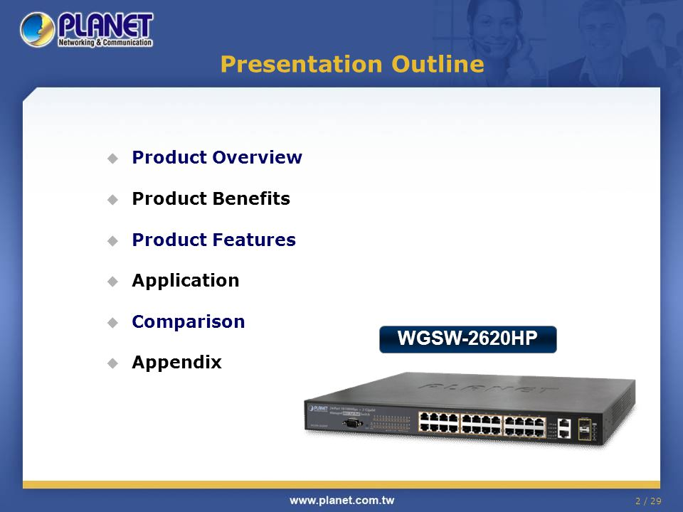 Presentation Outline WGSW-2620HP Product Overview Product Benefits