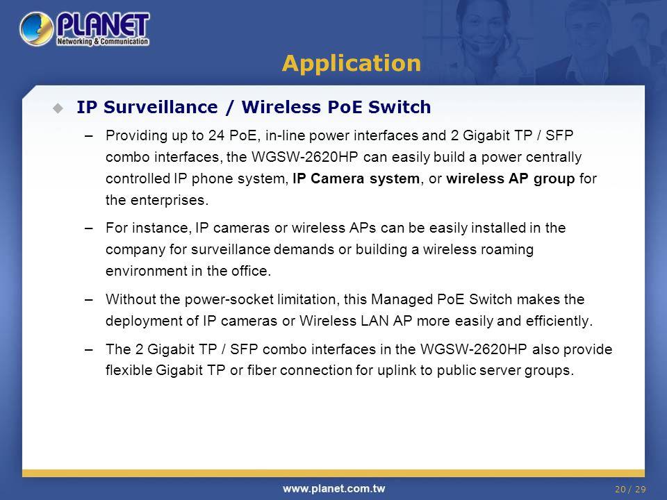Application IP Surveillance / Wireless PoE Switch
