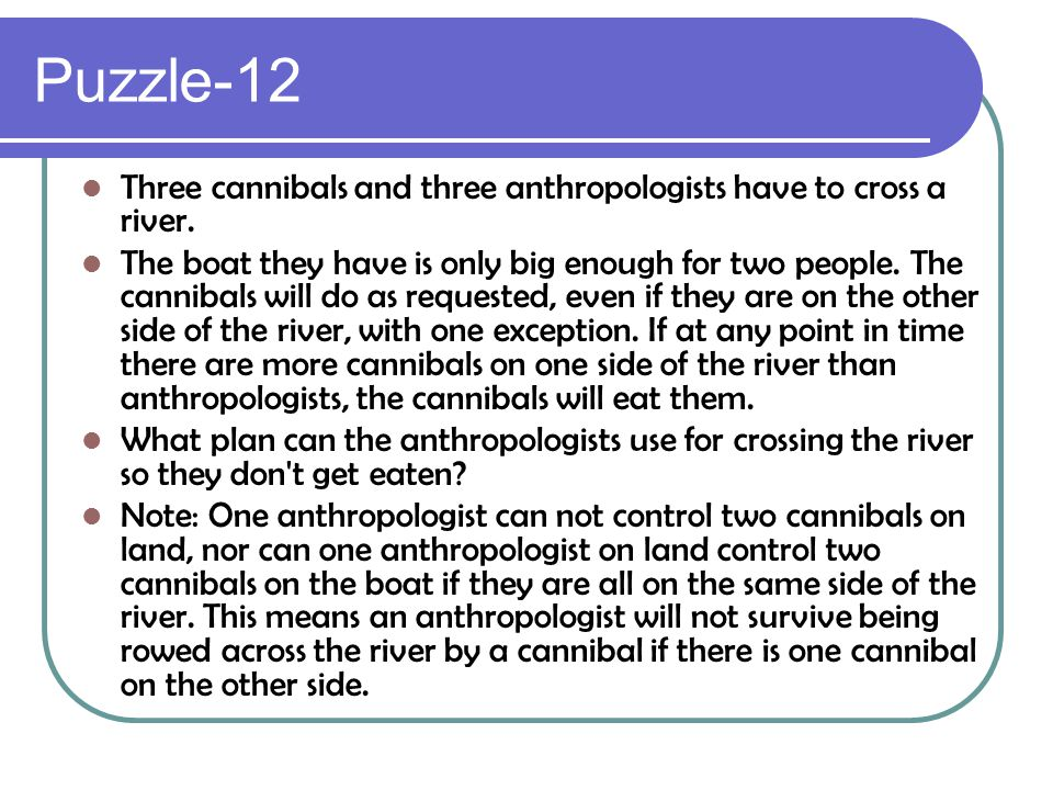 Puzzle-12 Three cannibals and three anthropologists have to cross a river.