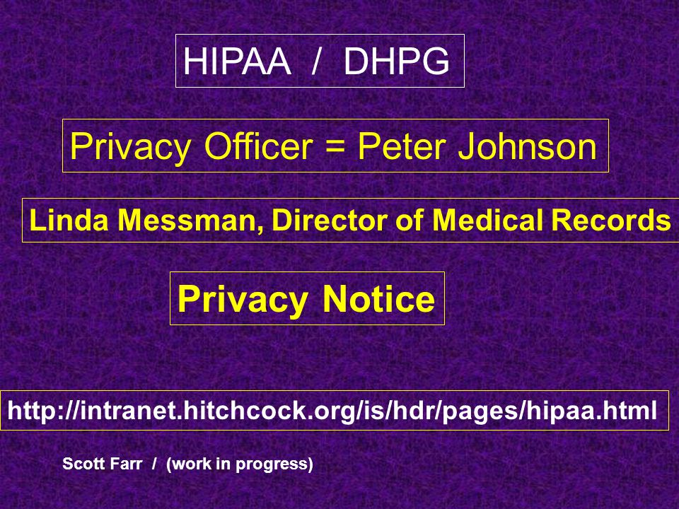 Privacy Officer = Peter Johnson