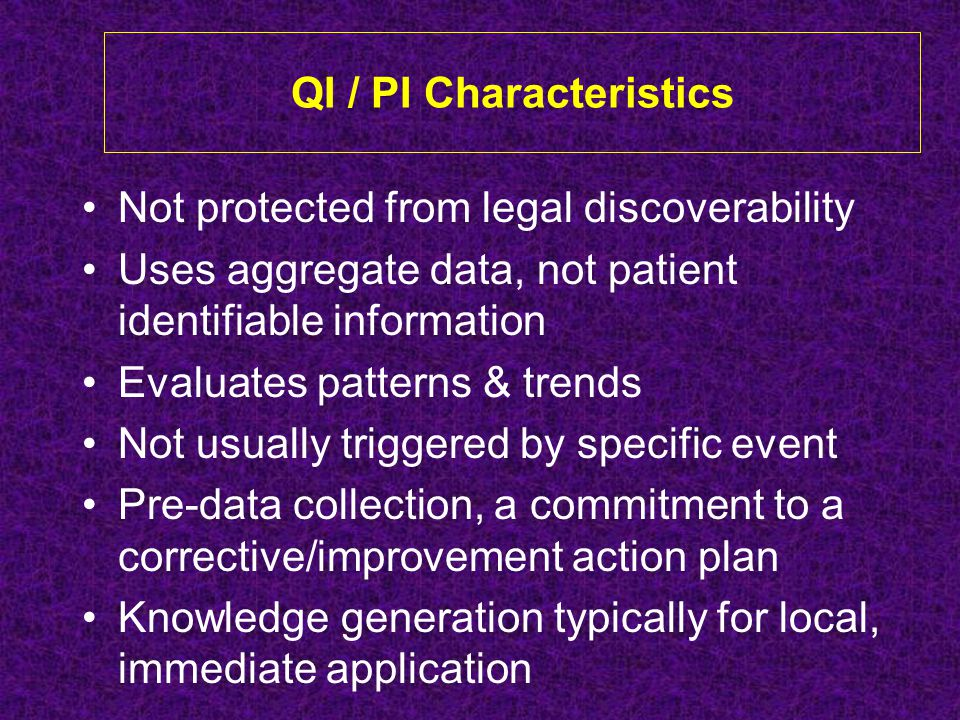 QI / PI Characteristics