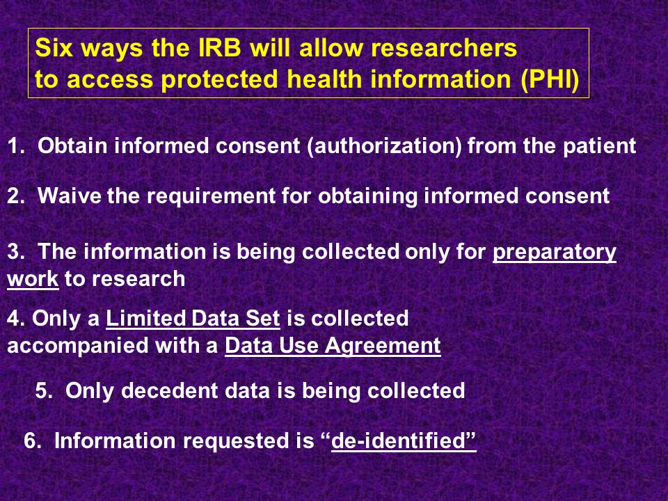 Six ways the IRB will allow researchers