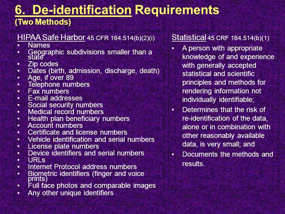 6. De-identification Requirements (Two Methods)