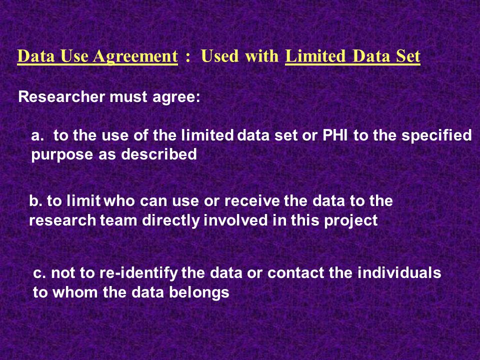 Data Use Agreement : Used with Limited Data Set
