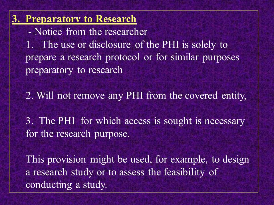 3. Preparatory to Research