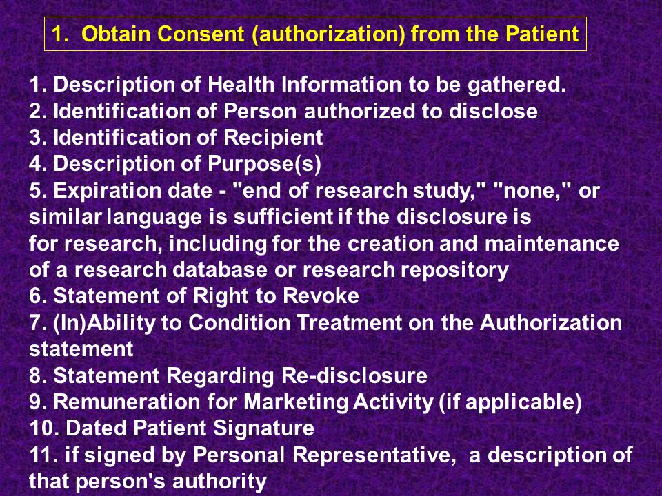 1. Obtain Consent (authorization) from the Patient