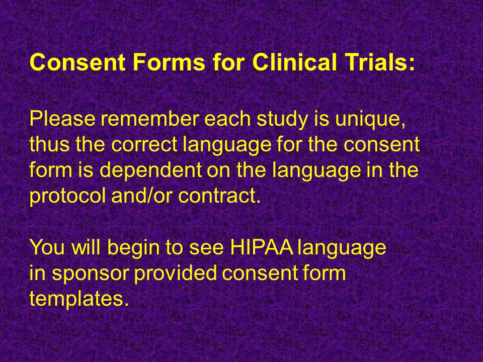 Consent Forms for Clinical Trials: