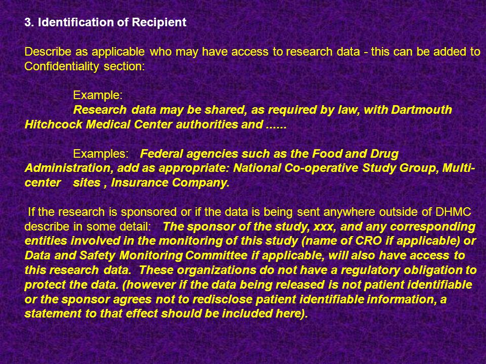 3. Identification of Recipient