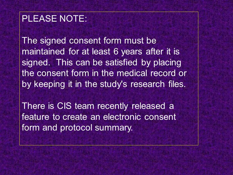 PLEASE NOTE: The signed consent form must be.