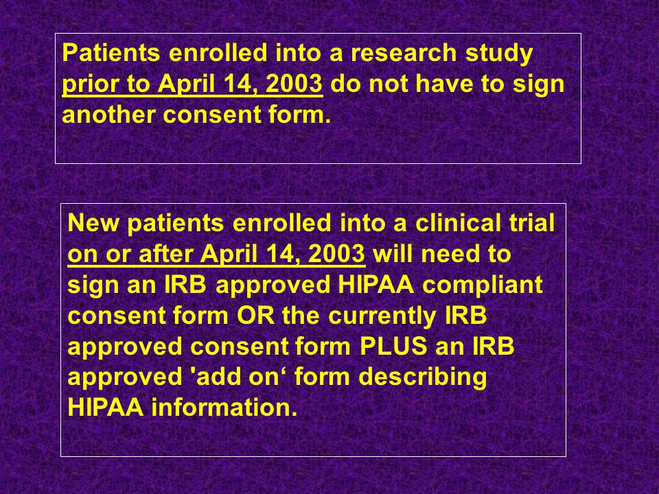 Patients enrolled into a research study