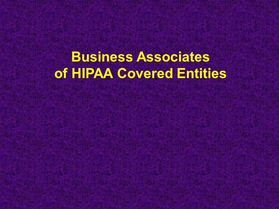 of HIPAA Covered Entities