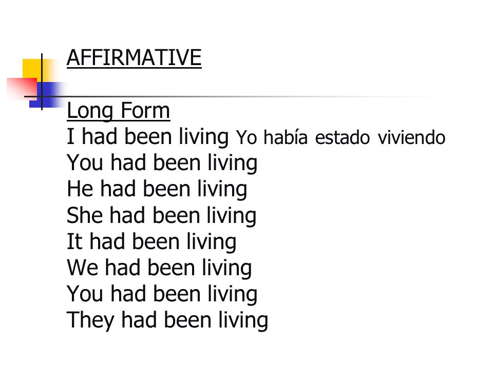 AFFIRMATIVE Long Form I had been living Yo había estado viviendo You had been living He had been living She had been living It had been living We had been living You had been living They had been living