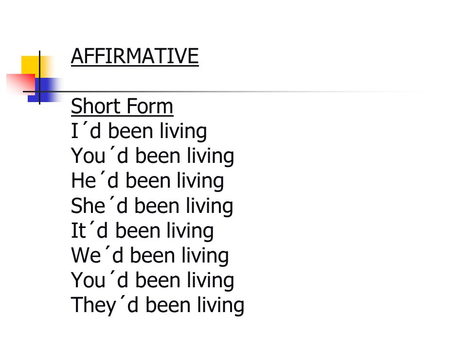 AFFIRMATIVE Short Form I´d been living You´d been living He´d been living She´d been living It´d been living We´d been living You´d been living They´d been living