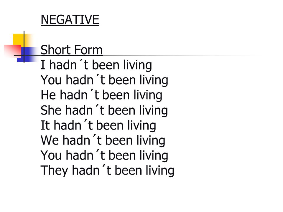 NEGATIVE Short Form I hadn´t been living You hadn´t been living He hadn´t been living She hadn´t been living It hadn´t been living We hadn´t been living You hadn´t been living They hadn´t been living