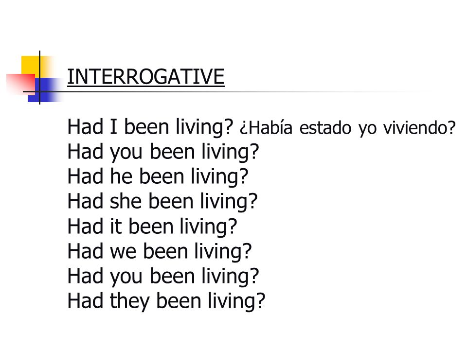 INTERROGATIVE Had I been living. ¿Había estado yo viviendo