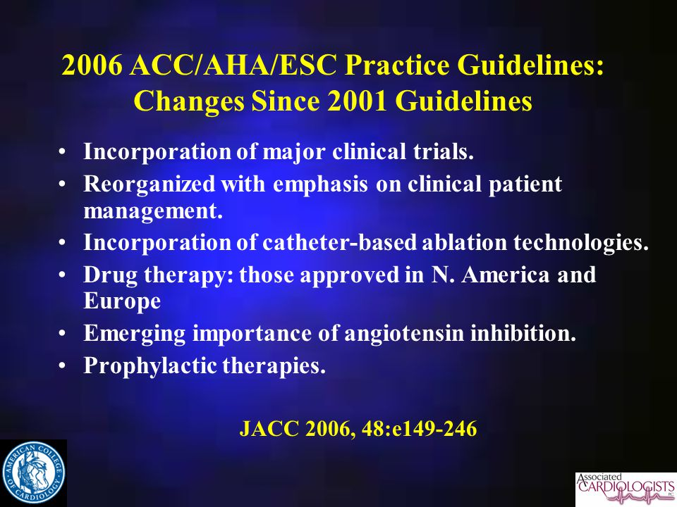 2006 ACC/AHA/ESC Practice Guidelines: Changes Since 2001 Guidelines