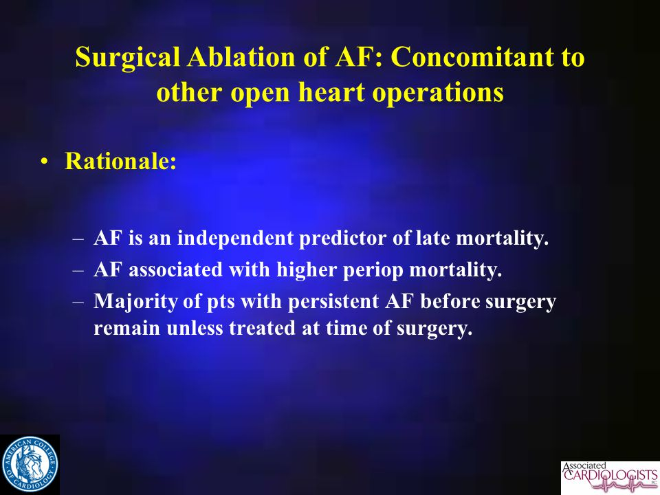 Surgical Ablation of AF: Concomitant to other open heart operations