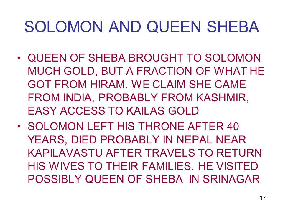 SOLOMON AND QUEEN SHEBA