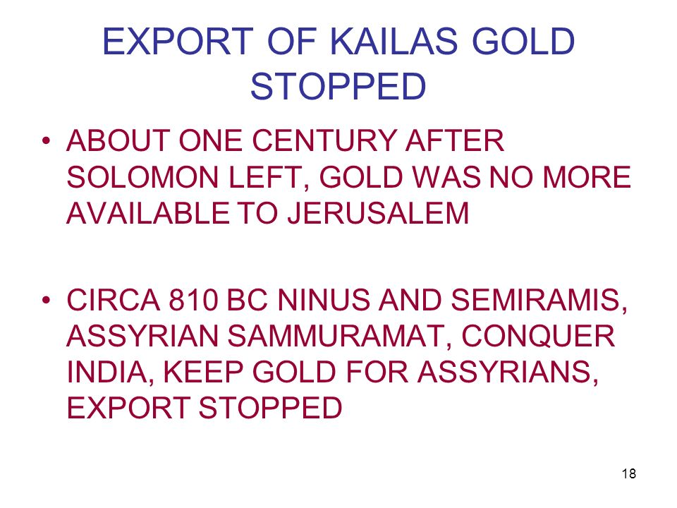 EXPORT OF KAILAS GOLD STOPPED