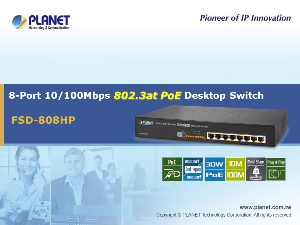 8-Port 10/100Mbps 802.3at PoE Desktop Switch